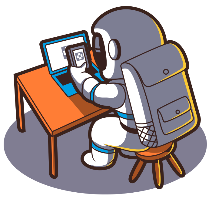 Astronaut Scanning A QR Code