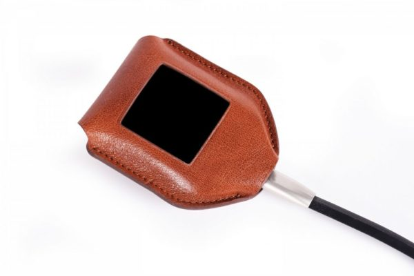 Trezor Model T Brown Leather Case Plugged In
